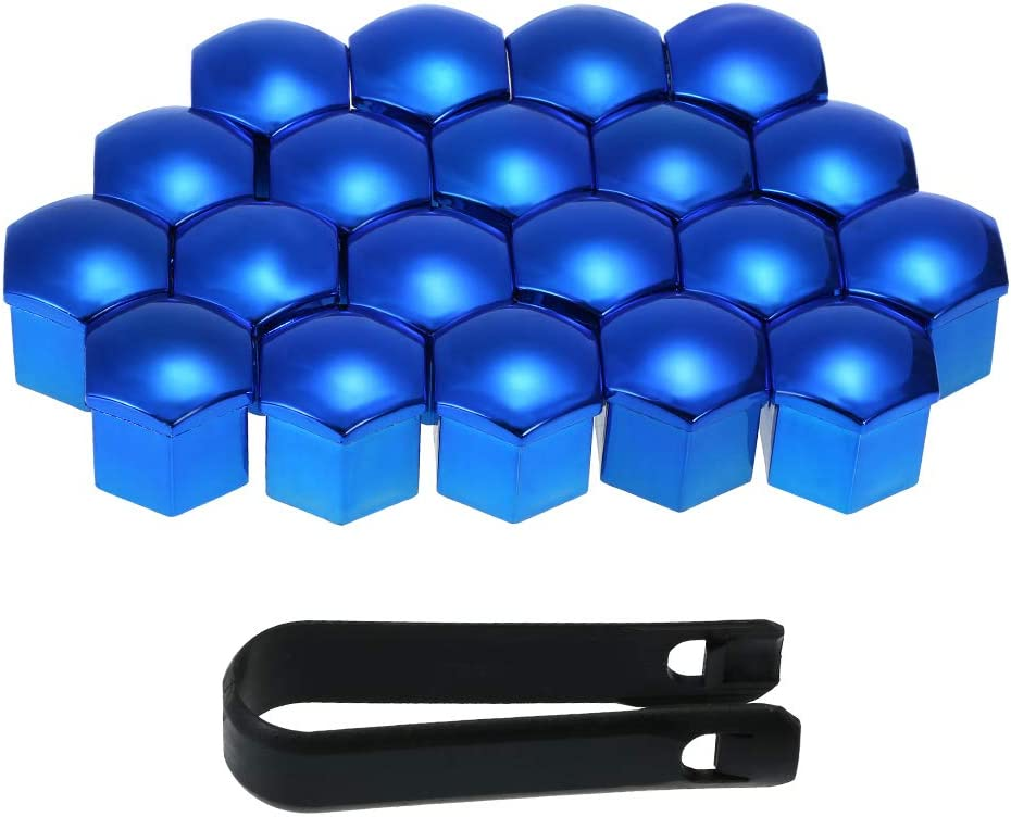 KKmoon Wheel Nut Covers 21mm Blue 20pcs Universal Lug Nut Caps Screw Protector