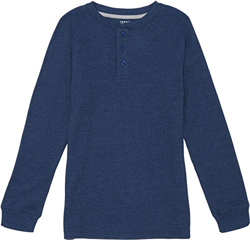French Toast School Uniform Boys Long Sleeve Thermal Raglan Henley T-Shirt, Medium Indigo Heather, 18 Months (Tee Thermal Raglan)