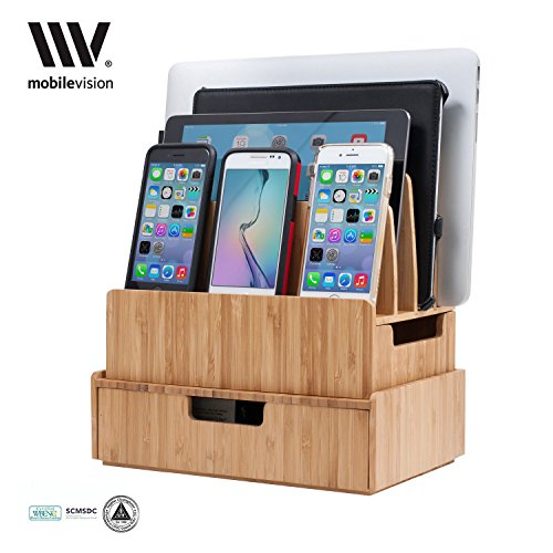 Charging Station Stand Combo with Bamboo Drawer; Extra Storage for Smartphones, Tablets, Laptops & Organizer for Office Supplies and Stationary Items (Charge Cart)