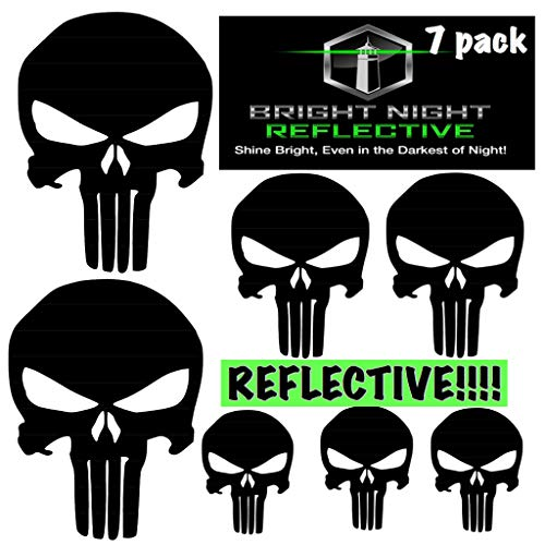 Punisher skull decal set, black reflective (Two 2.25 x 3.25 plus 5 more!) for helmets motorcycles cars guns (Punisher Skull Sticker)