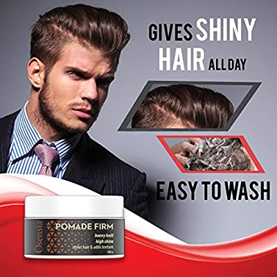 Pomade Firm Strong Hold Hair Wax – High Shine, High Hold Pomade for Men – Styling Gel, No Flakes or Residue, Washes Out Easy – Alcohol and Paraben Free Water Based Pomade Gel by Osensia 3.4oz