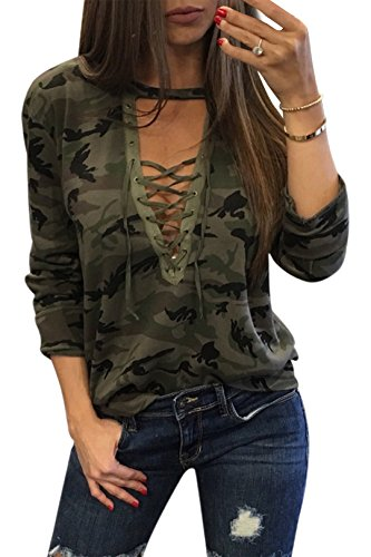 YOINS Women Sexy Camouflage Pattern V-Neck Lace-up Front Long Sleeves Top Camouflage M (Lace Up Front Shirt)