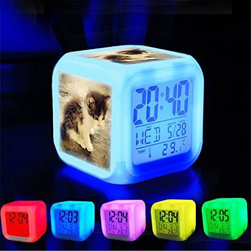 Girlsight Alarm Clock 7 LED Color Changing Wake Up Bedroom with Data and Temperature Display (Changable Color) Customize the pattern-006. kitty cat miaw meow kitten puss kucing comel by Girlsight