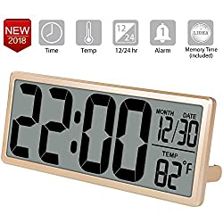 TXL 13.8 inch Jumbo Digital Alarm Clock, Large LCD Screen Electronic Wall Clock Display 4.6 inch Digits, Alarm/Date/Temperature, Battery Operated Bedside Desk Clock, Wall/Shelf Clock, Gold