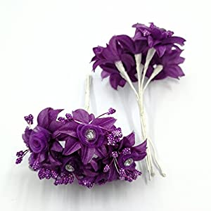 30 PCS Mini Rose Artificial Silk DIY Holiday Accessories Flower Diamond Bouquet For Wedding Decoration Scrapbooking Flower 5