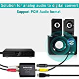 Analog to Digital Audio Converter, Hdiwousp RCA R/L or 3.5mm Jack AUX to Digital Coaxial Toslink Optical SPDIF Audio Aluminum Adapter Support Dual Ports Output with Optical Cable and Power Adapter