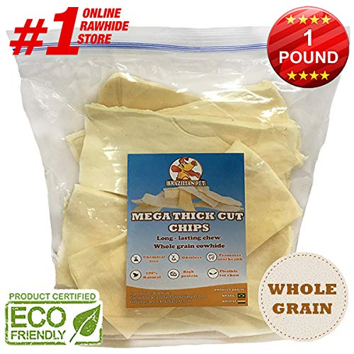 Premium Thick Cut Chips, Wholegrain Rawhide (Last Much Longer Than Traditional Chips). 100% Natural. The Best Behavioral Dog Chewing Treat Solution. No preservatives. (1 Pound)