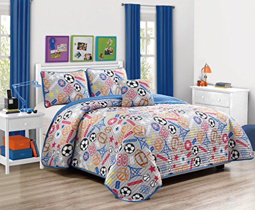 Fancy Linen 3pc Twin Size Bedspread Coverlet Sport Grey Orange Blue Red Black White Football Soccer Ball Base Ball Basket Ball Reversible New # Super Star New