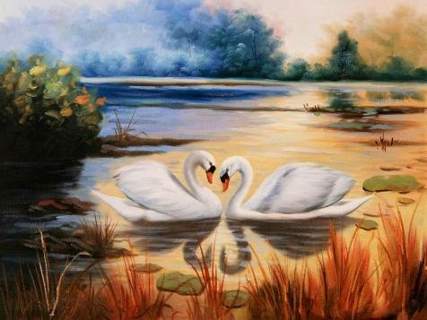 Oil Painting 'Swans In A Beautiful Lake', 30 x 40 inch / 76 x 102 cm , on High Definition HD canvas prints is for Gifts And Bath Room, Home Theater And Powder Room Decoration, factory