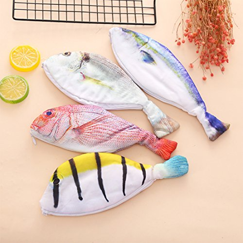 4pcs Creative fish shape Pencil case for girls Cute cloth pencil bag for kids material Stationery pouch pen box school supplies