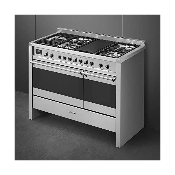 """Smeg Opera Series 48"""" Freestanding Dual Fuel Range Stainless Steel Multi-Function Dual Ovens, 12 Cooking Functions Including European Convection & Rotisserie, Storage Drawer, Griddle & 5 Burners 2"""