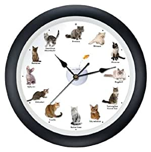 Meowing Cat Clock 13 Home Kitchen