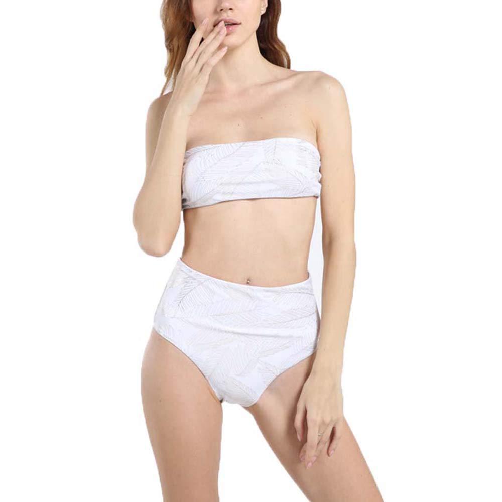 AUHUAy Bikinis de Hombro sin Tirantes de Talle Alto para Mujer ...