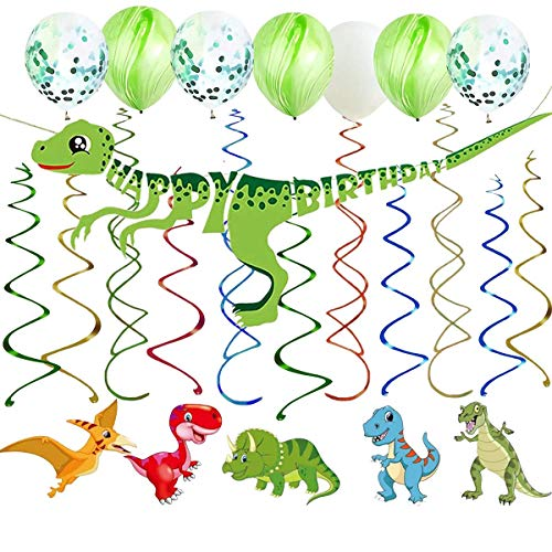 Kalaia 46 Ct Jungle Dinosaur Hanging Swirl Decorations Cute Dinosaur Happy Birthday Banner Balloons Whirl Streamers Ceiling Wall Decorations for Dinosaur Theme Birthday Baby Shower Party