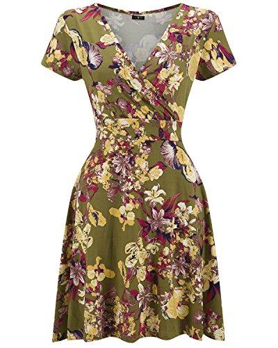 ZAFUL Women's Vintage Cross Wrap V-Neck Floral Printing Dress Short Sleeve Casual Flared Midi Dress with (Garden Drop Waist Dress)