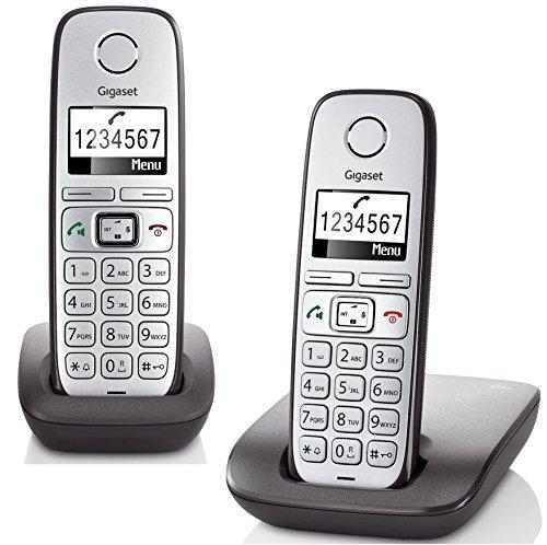 Gigaset E310 Duo Dect-Schnurlostelefon (inkl. 1 zusätzlichen Mobilteil, Großtastentelefon, beleuchtetes Display, große Schrift, Freisprechfunktion) anthrazit