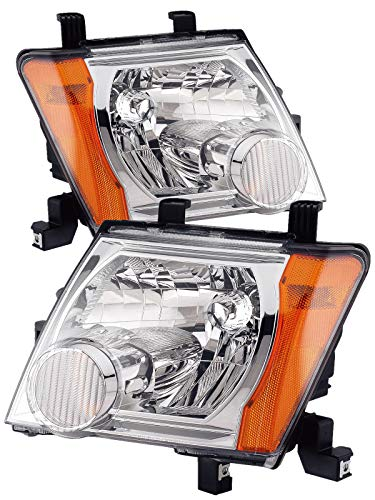 For 2005 2006 2007 2008 Nissan Xterra | Pro-4X Headlight Headlamp Assembly Driver Left and Passenger Right Side Pair Set Replacement NI2502161 NI2503161 ()