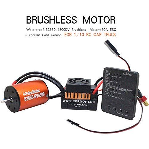 Brushless Motor and Esc, Blueseao Waterproof B3650 4300KV Brushless Motor+60A ESC +Program Card Combo for 1/10 RC Car Truck
