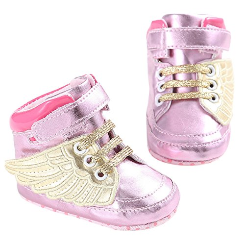 Puseky Baby Boys Girls PU Leather Shoes Angel Wings Soft Sole Prewalker Sneakers (11=0-6 Months, Pink) Review