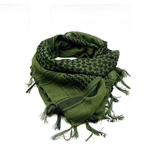 100% Cotton Premium Arab Shemagh Tactical Desert Scarf for Men or Women Olive Green