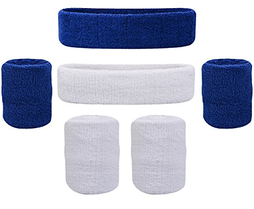 Oldhill Sweatband Set - (2 Headbands and 4 Wristbands) Thick Terry Cloth Cotton for Sports Indoor and Outdoor - Blue, White