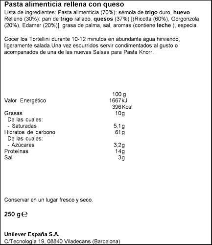 Knorr Pasta Tortellini Pasta Rellena con Queso - 250 g: Amazon.es: Amazon Pantry