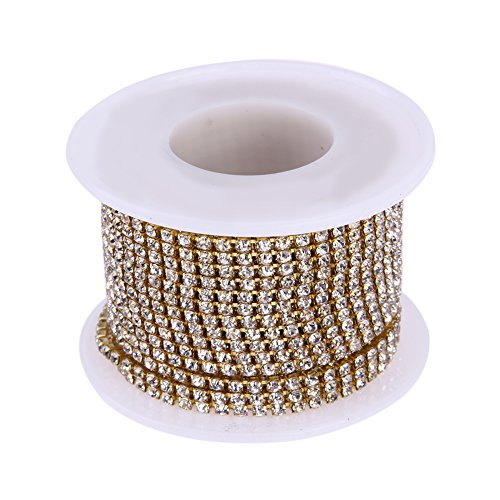 WinnerEco 10 Yards Clear Crystal Rhinestone Bead Strands for Home Party Wedding Decoration (2.5mm, Gold)