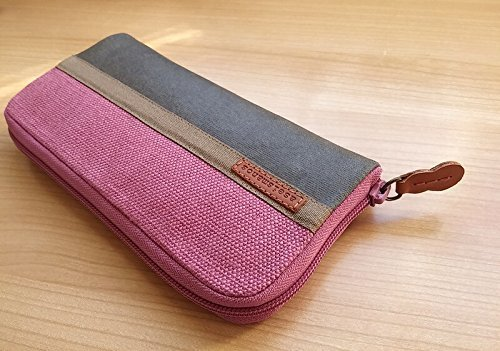 Zip around purse for women - Women wallet - aseismanos made in Spain - Pink linen and gray waxed canvas zip around wallet - Large wallet - 20cm x 10 cm - 8 card slots and 2 long pockets for bills - zipped pocket inside