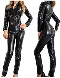 Imixshop Black PVC Dress Bodysuit Catsuit Catwoman,Lady Faux Leather Zipper Wetlook Jumpsuit (XL)