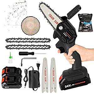 Mini Chainsaw Kit, 4-Inch 24V Cordless Portable Lightweight Lithium Battery Chain Saw with Toolbox, 2 Battery and 2…