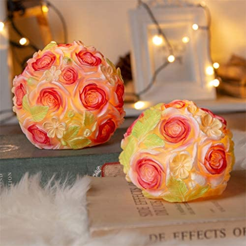 Vanthylit Set of 2 Pretty Blossom Ball Candles Battery Operated with Timer Handmade with Real Wax Flameless Flickering Candle Table Lamp Ornaments for Gift Valentine and Wedding D cor