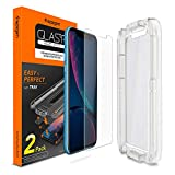Spigen Tempered Glass Screen Protector with Installation Tray Designed for Apple iPhone XR (6.1 inch) (2018) [2 Pack]