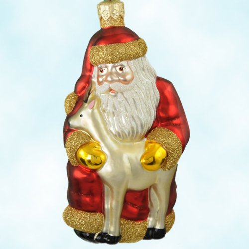Patricia Breen Christmas Ornaments Santa and Sarenka, Red, Matte 1999, 9838, Baby Reindeer, Retired