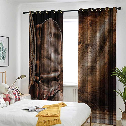 AndyTours Western Decor Living Room/Bedroom Window Curtains Old Leather Working Roper Boots on Timber Backdrop with Sun Rays Weathered Photo Darkening Thermal Insulated Blackout 96