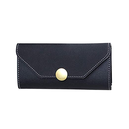 a8e67629c713 Amazon.com: Yomiafy Ladies Fashion Solid Color Round Decoration Hasp Long  Wallet Leather Bifold Large Capacity Purse (Black, Large): Clothing
