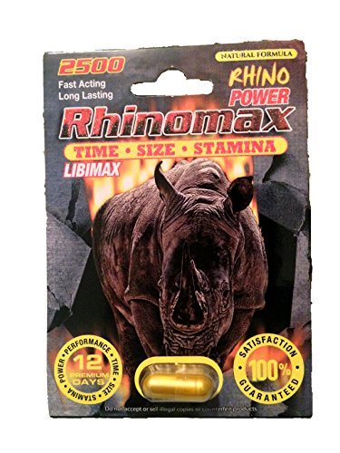 RHINOMAX 2500 Premium Male Sexual Performance Enhancer -12 Capsules by Rhino