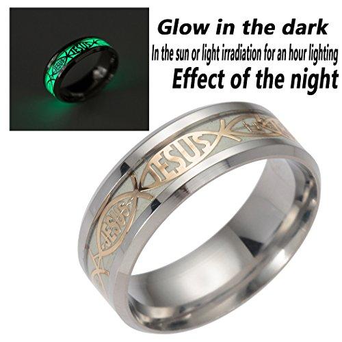 (SUNSCSC Vintage Jesus Cross Band Rings for Men Women Luminous Stainless Steel Glow in The Dark)