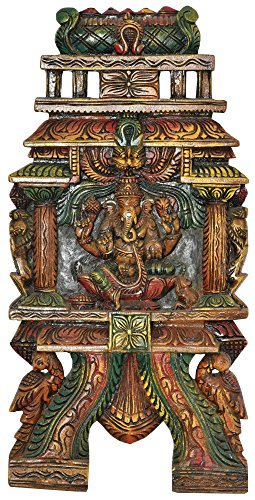 Lord Ganesha (Wall Hanging) - South Indian Temple Wood Carving