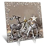 3dRose Andrea Haase Holiday Illustration - Deer with Star Frame Mixed Media Art Xmas Photography Collage - 6x6 Desk Clock (dc_291699_1)