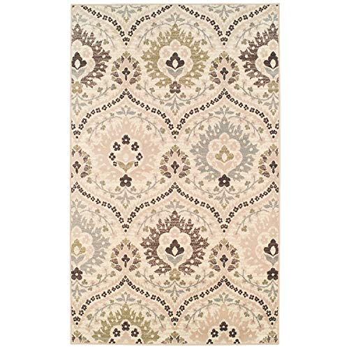 Superior Designer Augusta Collection Area Rug, 8mm Pile Height with Jute Backing, Beautiful Floral Scalloped Pattern, Anti-Static, Water-Repellent Rugs - Beige, 8 x 10 Rug