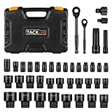 Drive Socket Set, Pass Through 40pcs TACKLIFE Multi-function Socket Set Various Screws,Metric and Inch,1/4-Inch & 3/8-Inch with Reversible Ratchet-SWS1A