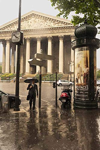 Paris, Photography, Madeleine, church, pillars, classical architecture, man, crossing street, Rain, umbrella, wet pavement, kiosk, coat and tie, France, Europe, Art Print, Wall Art, Gift, Decor, Photo -