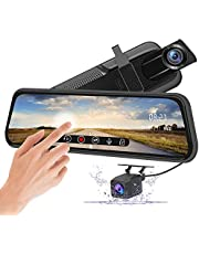 AWESAFE 10 Inch Mirror Dash Cam Touch Screen 1080P Rear View Mirror Camera Front and Rear Dual Lens 24H Parking Monitor and Night Vision