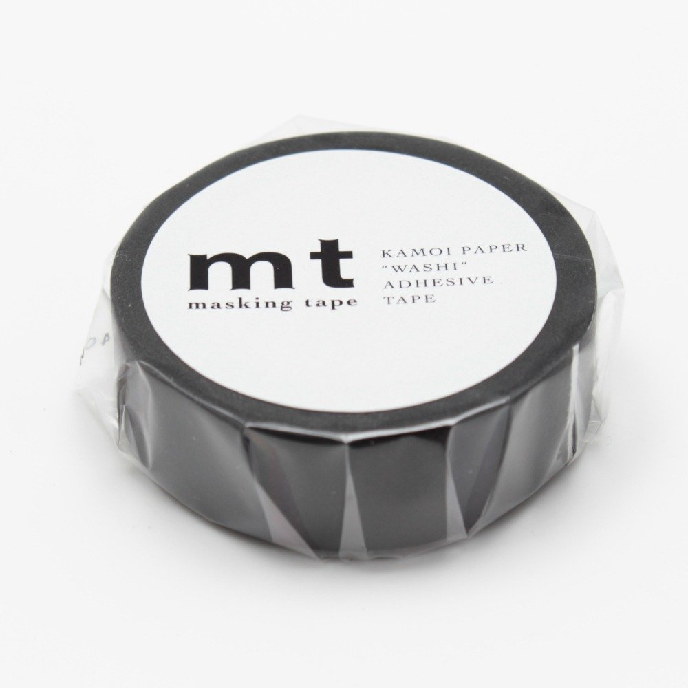 MT Solids Washi Paper Masking Tape,15mm x 10m , Matte Black (MT01P207)