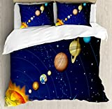 Space Duvet Cover Set by Ambesonne, Solar System with Sun Uranus Venus Jupiter Mars Pluto Saturn Neptune Image, 3 Piece Bedding Set with Pillow Shams, Queen / Full, Dark Blue Orange