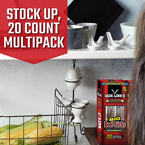 Jack Link's Beef Sticks, Original, 0.92 Ounce (20 Count) - Great Protein Snack, Meat Stick with 5g of Protein, Made with 100% Premium Beef, No Added MSG