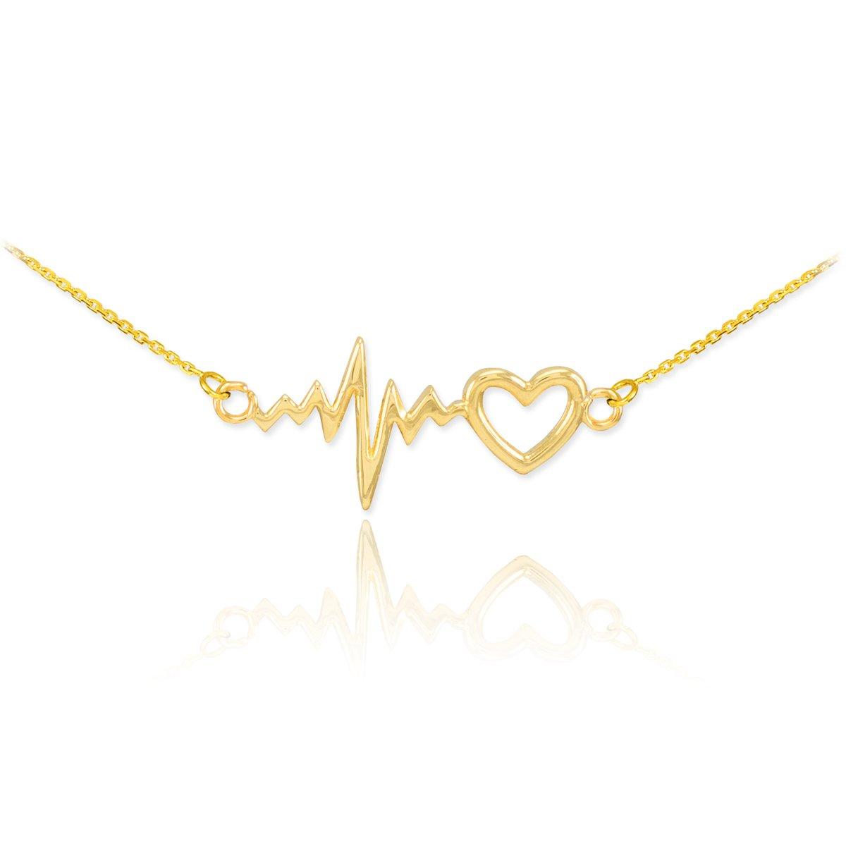 14k Yellow Gold Lifeline Pulse Heartbeat Charm Open Heart Pendant Necklace, 16''