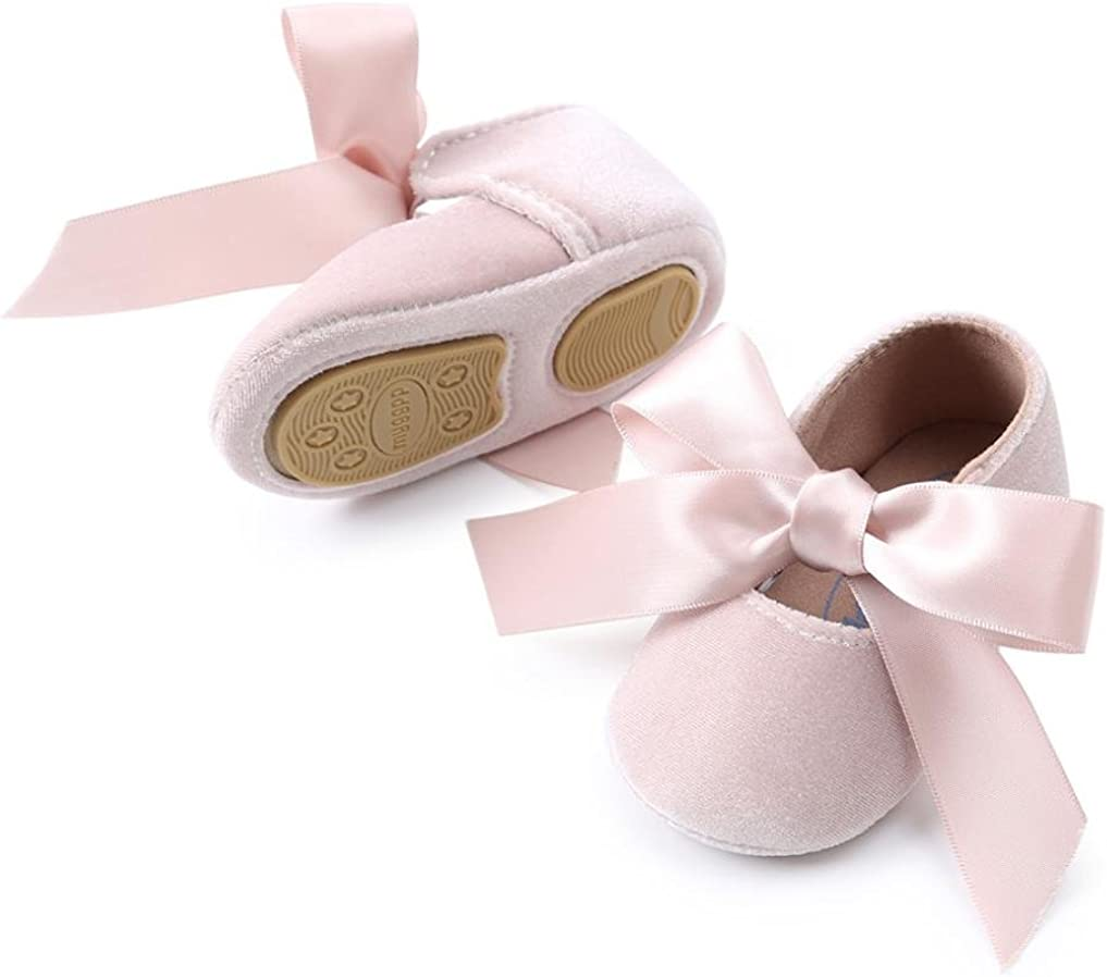 WARMSHOP Baby Girls Bowknot Bandage Fashion Soft Velvet Solid Color Princess First Walkers Shoes