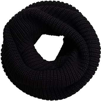 NEOSAN Womens Thick Ribbed Knit Winter Infinity Circle Loop Scarf Black