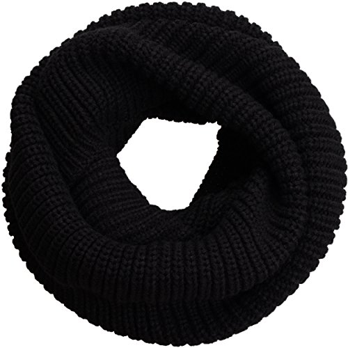 (NEOSAN Womens Thick Ribbed Knit Winter Infinity Circle Loop Scarf Black )